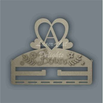 Combination Clip Bow Medal Hanger  INITIAL with HEART / Laser Cut Delights