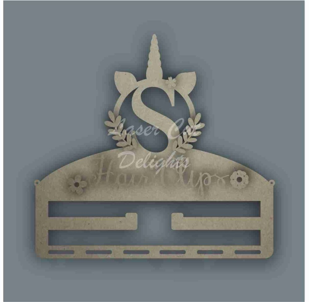 Combination Clip Bow Medal Hanger INITIAL with UNICORN CIRCLE / Laser Cut Delights