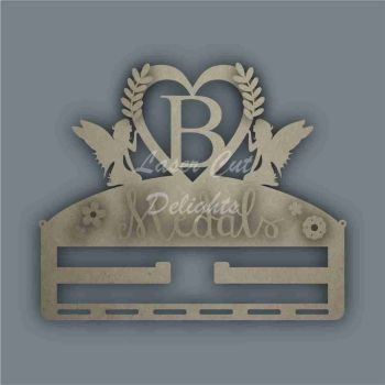 Combination Clip Bow Medal Hanger INITIAL with FAIRY SIDES / Laser Cut Delights