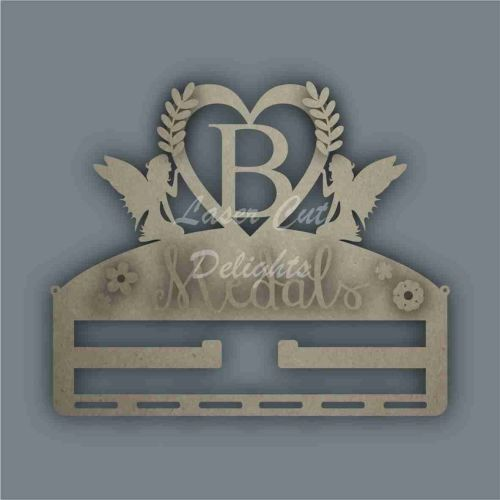 Combination Clip Bow Medal Hanger INITIAL with FAIRY SIDES / Laser Cut Deli