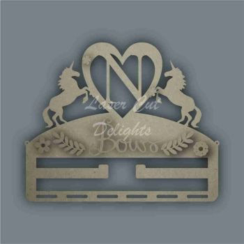 Combination Clip Bow Medal Hanger INITIAL with UNICORN SIDES / Laser Cut Delights
