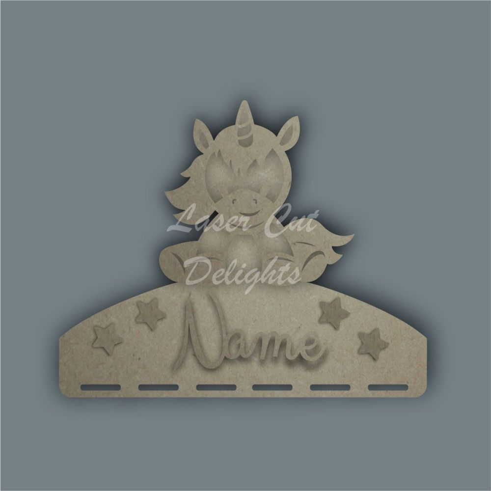Name Plaque STENCIL UNICORN SITTING Bow Medal Hanger / Laser Cut Delights