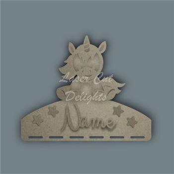 Name Plaque STENCIL UNICORN SITTING Bow Medal Hanger / Laser Cut Delights