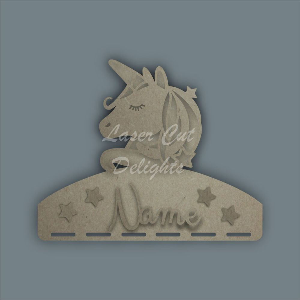 Name Plaque STENCIL UNICORN HEAD Bow Medal Hanger / Laser Cut Delights