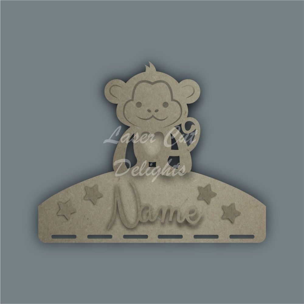 Name Plaque STENCIL MONKEY Bow Medal Hanger / Laser Cut Delights