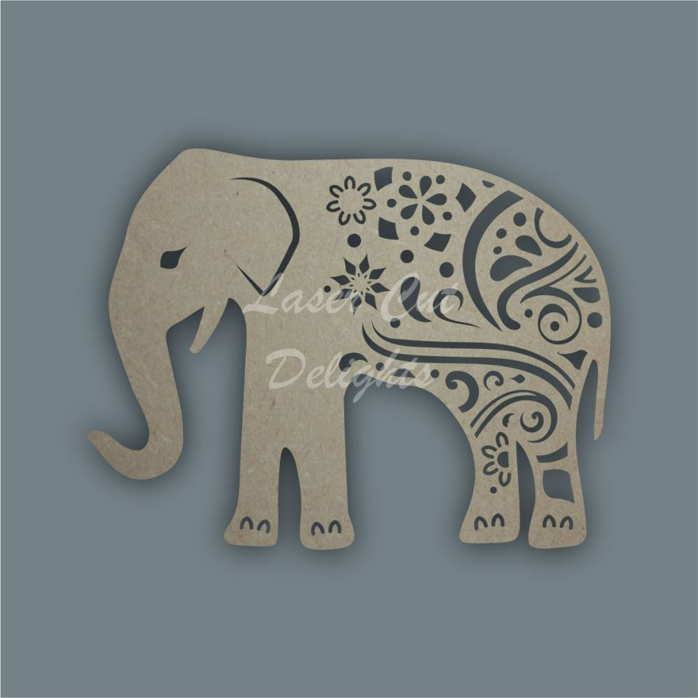 Elephant Full Mandala Swirls / Laser Cut Delights