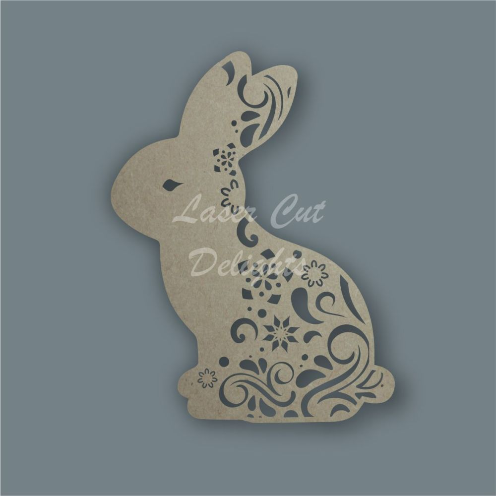Bunny Rabbit Full Mandala Swirls / Laser Cut Delights