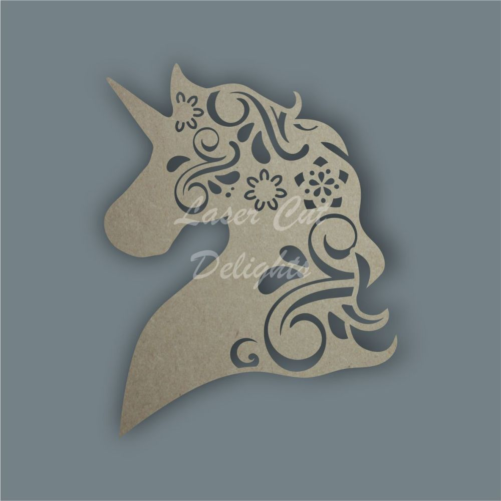 Unicorn Head Mandala Swirls / Laser Cut Delights