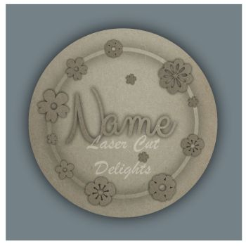 Wreath with Flowers NAME / Laser Cut Delights