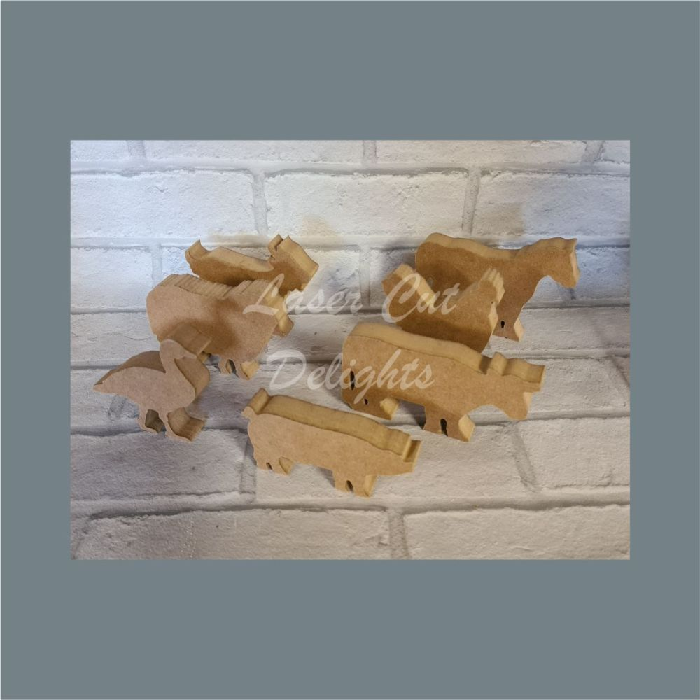 Freestanding Farm Animals Set / Laser Cut Delights