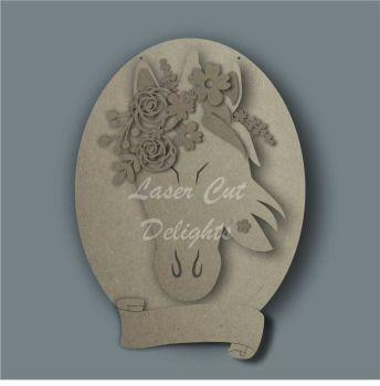 Floral Unicorn on Plaque / Laser Cut Delights