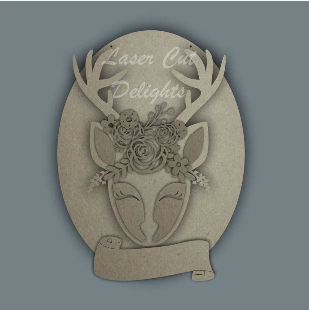 Floral Deer on Plaque / Laser Cut Delights