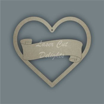Heart with banner inside / Laser Cut Delights