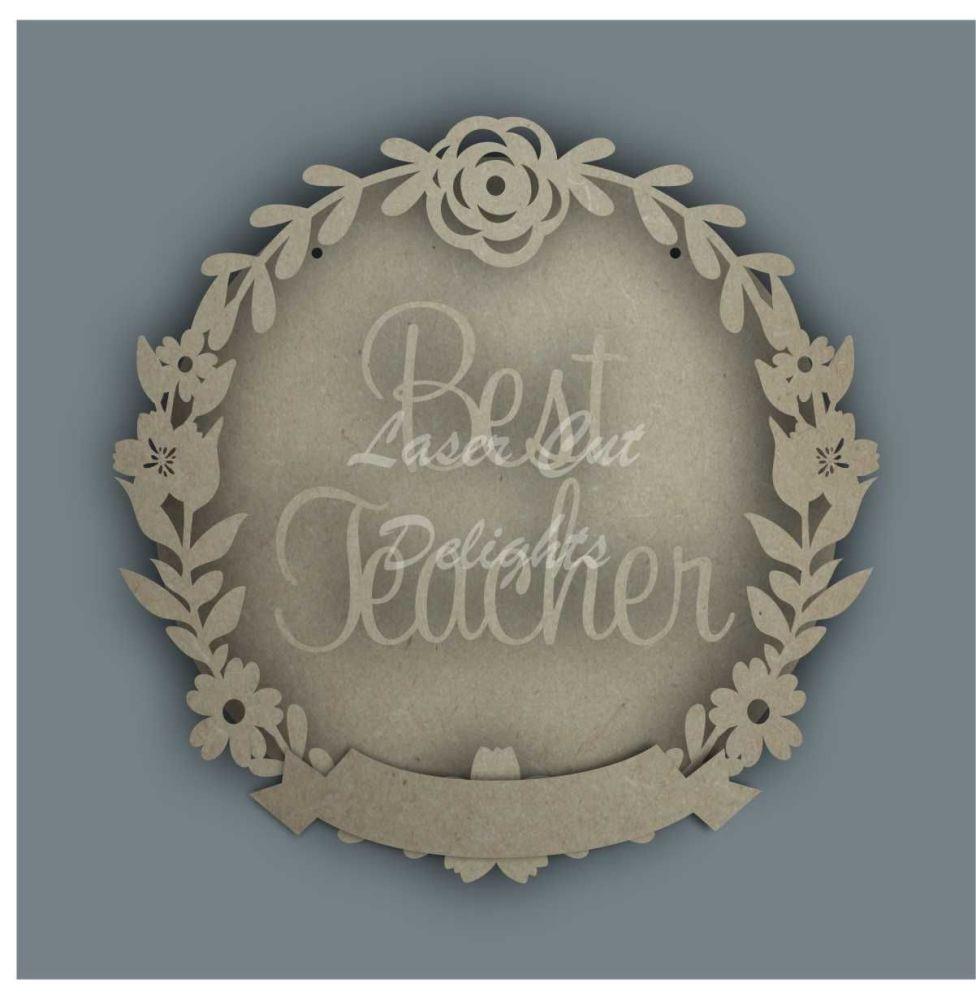 Wreath Banner BEST TEACHER / Laser Cut Delights