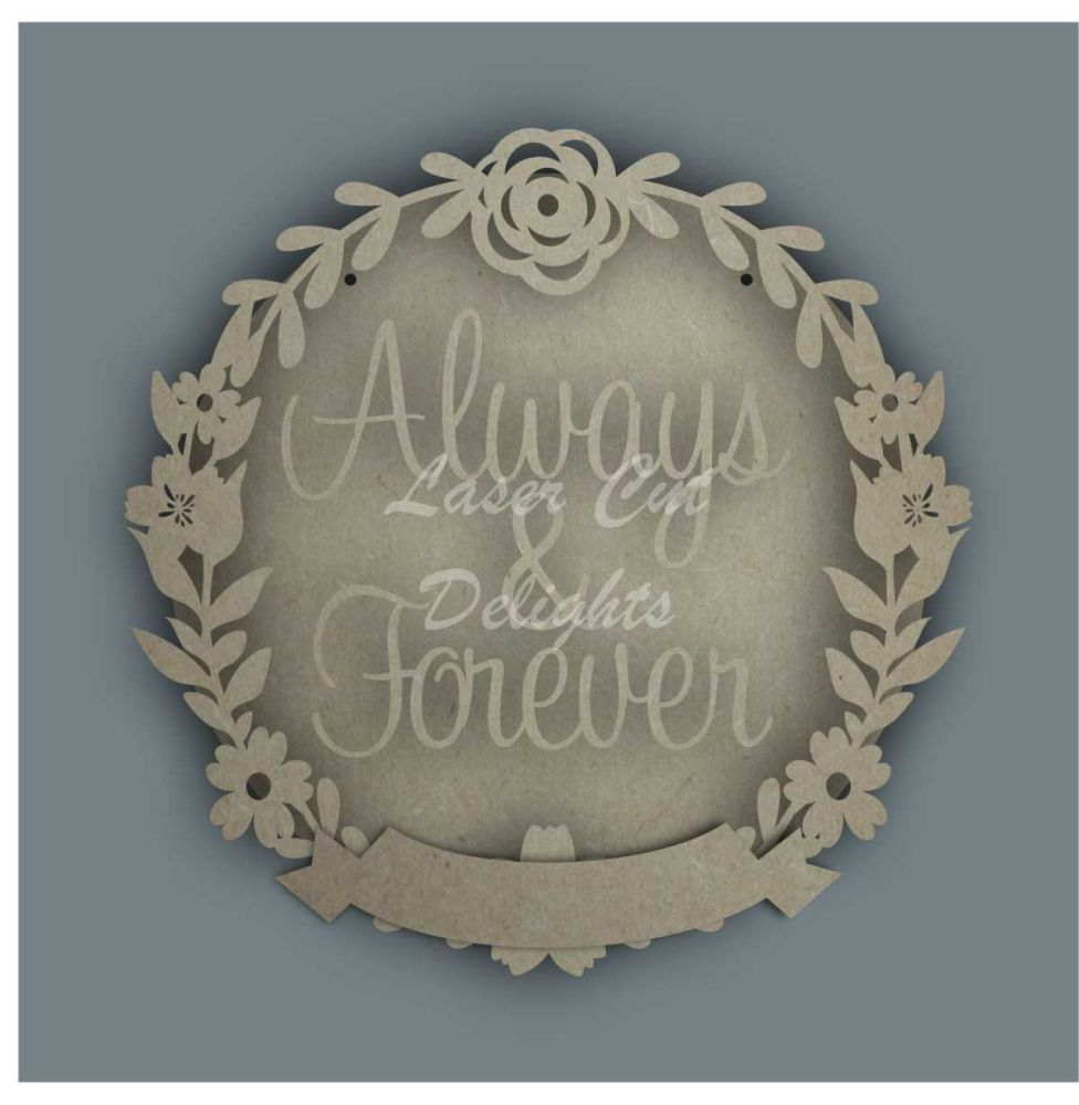Wreath Banner ALWAYS & FOREVER / Laser Cut Delights