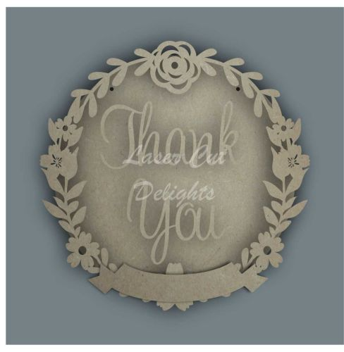 Wreath Banner THANK YOU / Laser Cut Delights