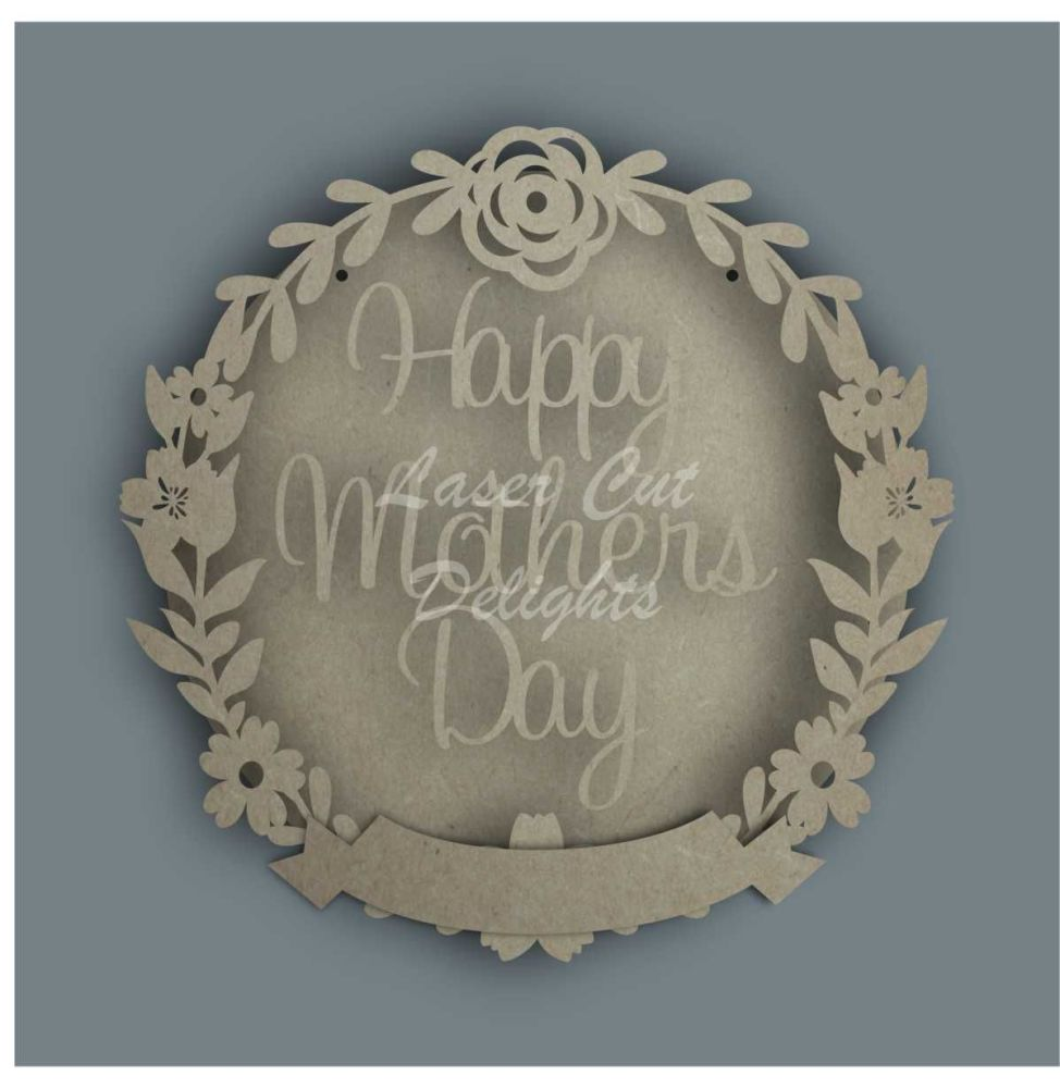 Wreath Banner HAPPY MOTHERS DAY / Laser Cut Delights
