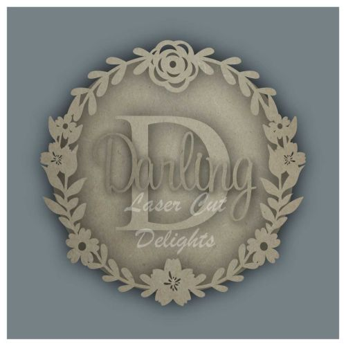 Wreath Flower with INITIAL and NAME / Laser Cut Delights