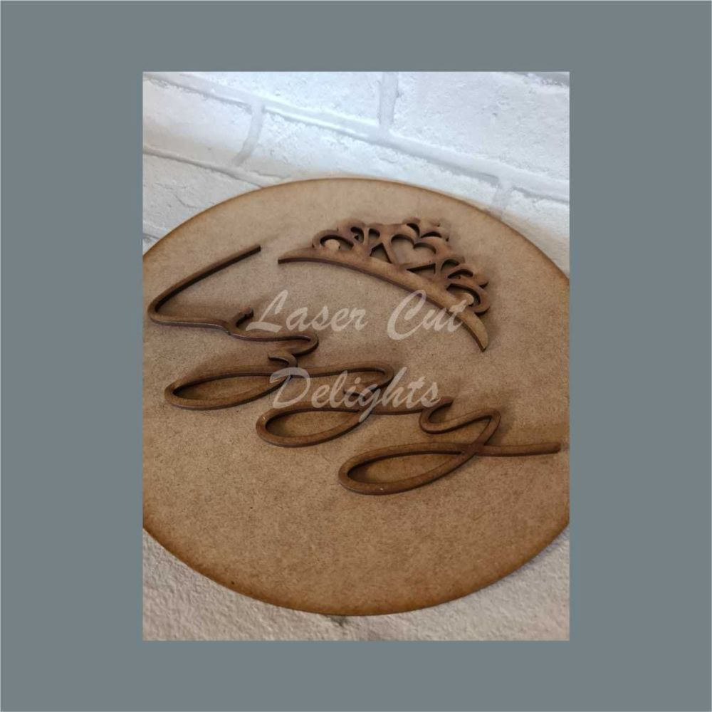 Layered Plaque with Single Name and Stencil Tiara Crown / Laser Cut Delight