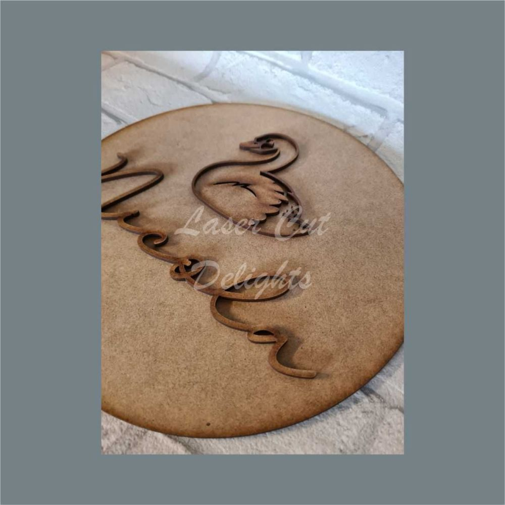 Layered Plaque with Single Name and Stencil Swan / Laser Cut Delights