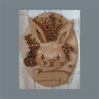 Floral Rabbit on Plaque / Laser Cut Delights