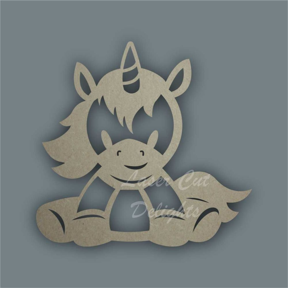 Unicorn Sitting Stencil / Laser Cut Delights