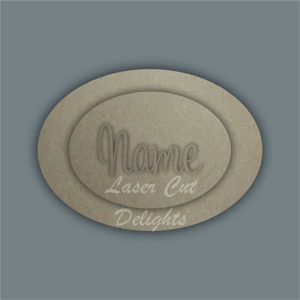 Oval or Circle Layered Plaques with Name / Laser Cut Delights