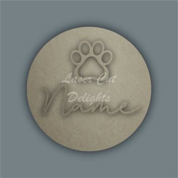 Layered Plaque with Single Name and Stencil Paw Print / Laser Cut Delights