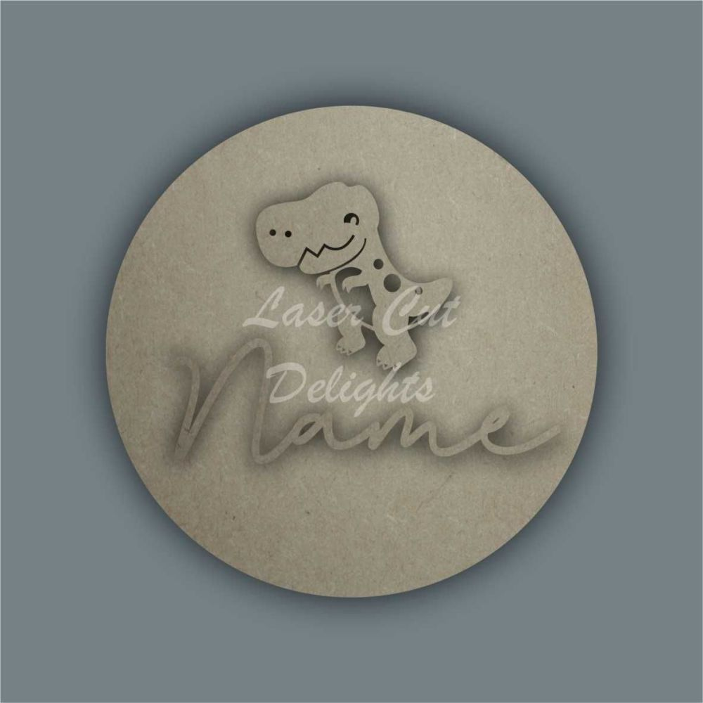 Layered Plaque with Single Name and Stencil T-Rex / Laser Cut Delights