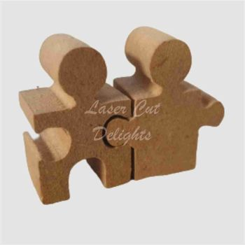 Wedding Couple Puzzle Pieces Cake Topper 18mm