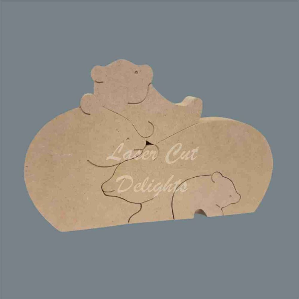 Puzzle Family Bear Puzzle 18mm / Laser Cut Delights