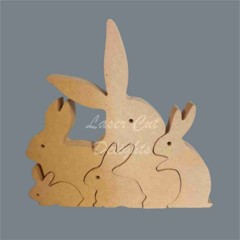 Puzzle Family Bunny Rabbit 18mm / Laser Cut Delights
