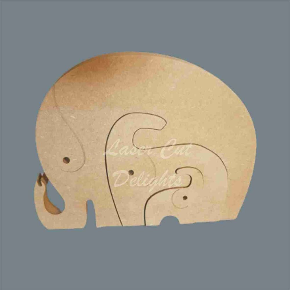 Puzzle Family Elephant 18mm / Laser Cut Delights
