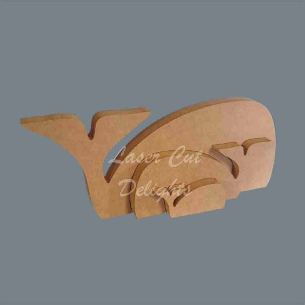 Stackable Whale Family Puzzle 18mm / Laser Cut Delights
