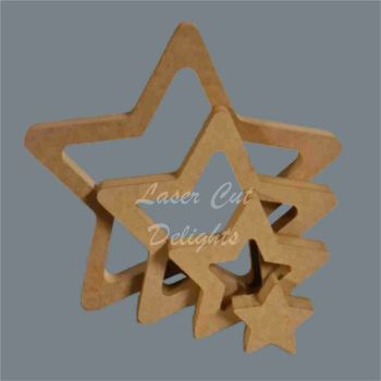 Nesting Stackable Star Puzzle 18mm / Laser Cut Delights