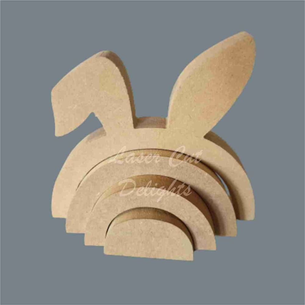 Stackable Rainbow Bunny Rabbit and Bent Ear / Laser Cut Delights