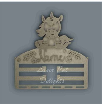 Combination Clip Bow Medal Hanger STENCIL UNICORN SITTING / Laser Cut Delights