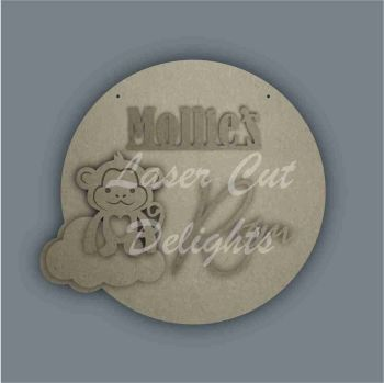 Layered Cloud Name Plaque with Stencil Monkey / Laser Cut Delights