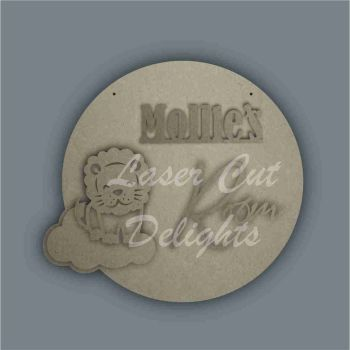 Layered Cloud Name Plaque with Stencil Lion / Laser Cut Delights