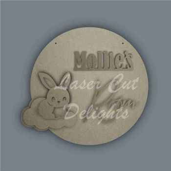 Layered Cloud Name Plaque with Stencil Rabbit / Laser Cut Delights
