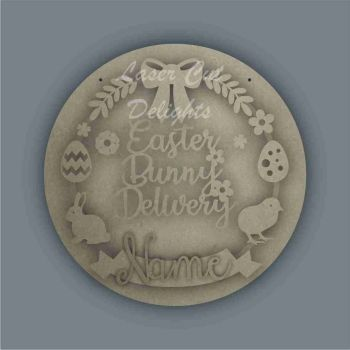 Wreath Banner Easter Bunny Delivery / Laser Cut Delights
