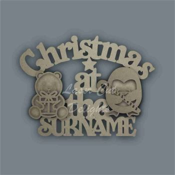 Christmas at the 'surname' (curved stencil PENGUIN & POLAR BEAR) / Laser Cut Delights
