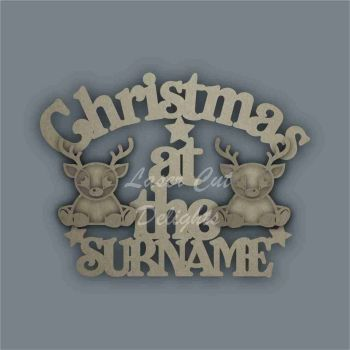 Christmas at the 'surname' (curved stencil REINDEER) / Laser Cut Delights
