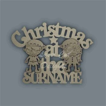 Christmas at the 'surname' (curved stencil ELVES) / Laser Cut Delights