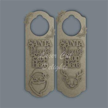 Christmas Stencil SANTA STOP HERE Door Hanger / Laser Cut Delights