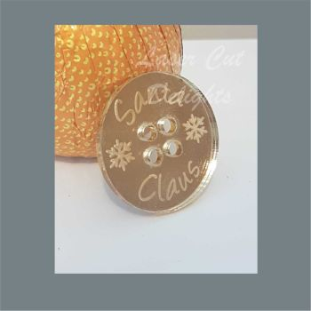 Button - Santa Clause with snowflakes / Laser Cut Delights