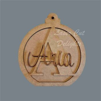 Large 18mm Bauble (layered) with Name and Initial / Laser Cut Delights
