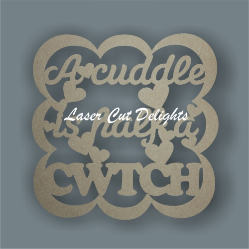 Bubble Plaque - A cuddle is half a cwtch 3mm 30x30cm