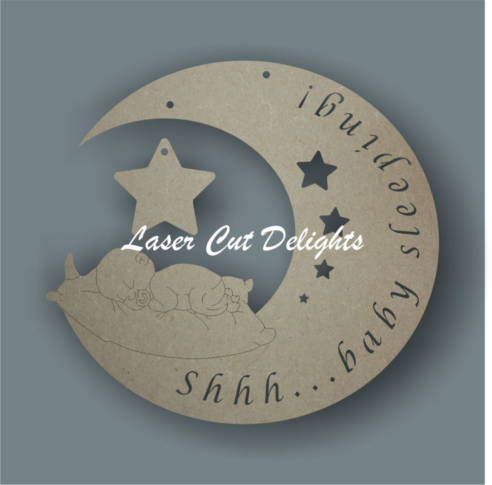 Shhh...baby sleeping (MOON) / Laser Cut Delights