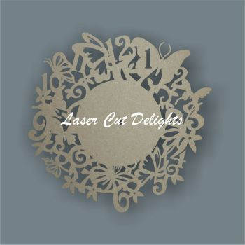 CLOCK - Butterfly Theme / Laser Cut Delights